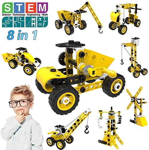 AceLife Construction Vehicles Toys, Kids Toys for 3 4 5 6 7 8 9 10+ Year Olds Boys Girls, STEM 8 in 1/100 Pieces DIY Educational Play Building Toys for Christmas Birthday Party Gift