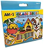 AMOS Peelable 10 Colour Glass Paints and Stain Kit with Outliners -
