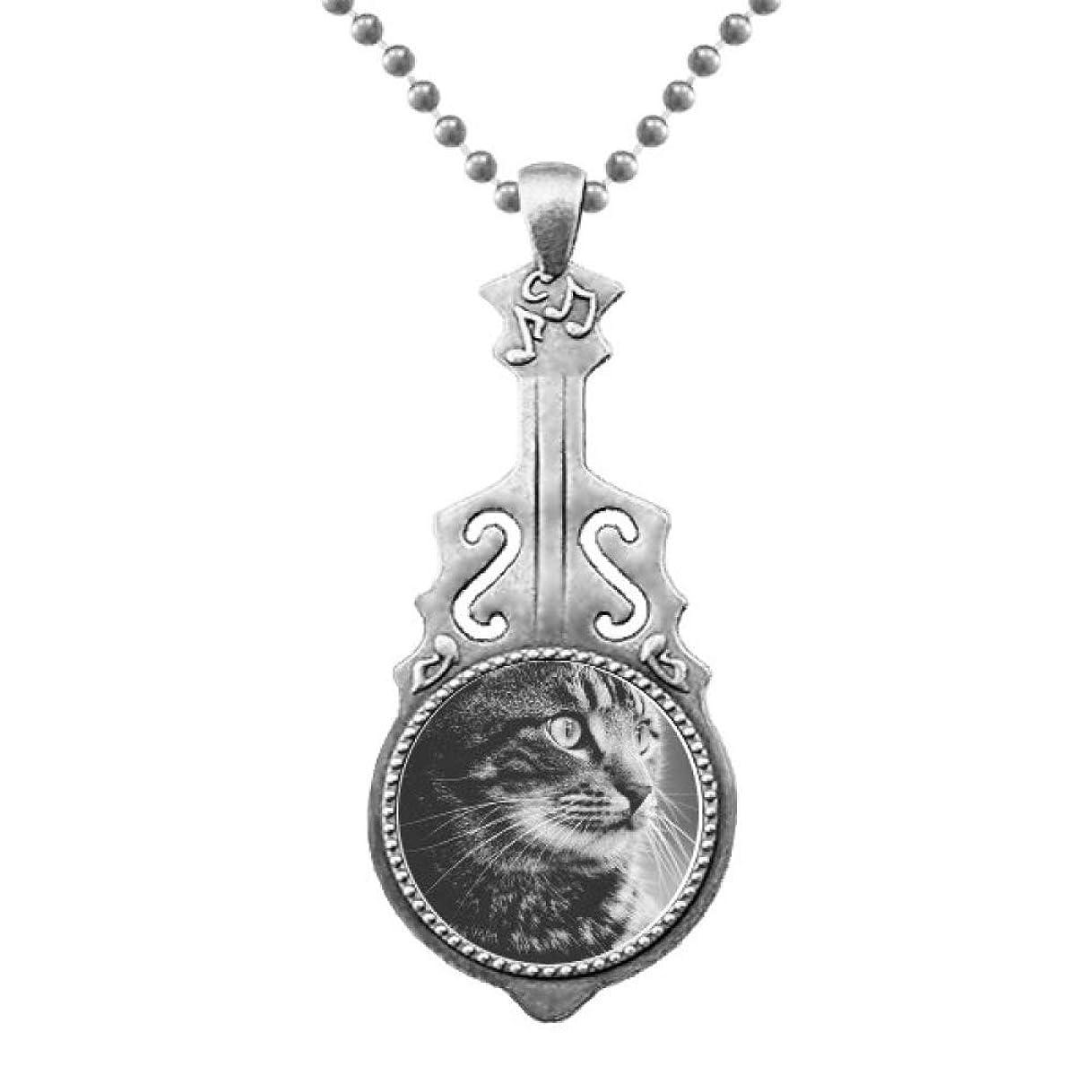 継承研磨剤車両黒の白い猫のプロフィールの野生動物 ペンダントジュエリー音楽ギタートルクスタームーン