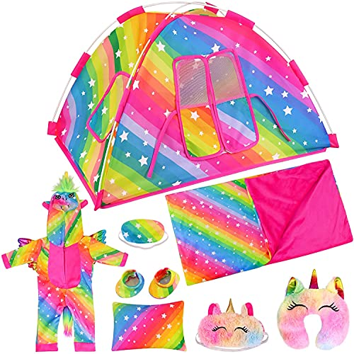ZITA ELEMENT 8 Items Fashion Rainbow Doll Camping Tent Set for American 18...