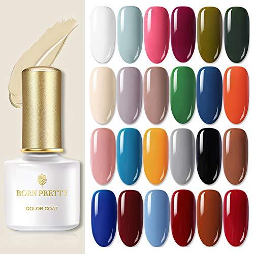 BORN PRETTY Gel Nail Polish Kit 6ML 24 Bottles Pure Series Color UV LED Lamp Required Soak Off UV Gel Nail Varnish Set