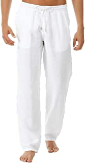 Men Linen Pants Casual Loose Fit Solid Color Elastic Waist Beach Trousers with Drawstring