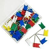 60 Pieces Multi-Color Flag Travel Map Push Pins (5 Colors)