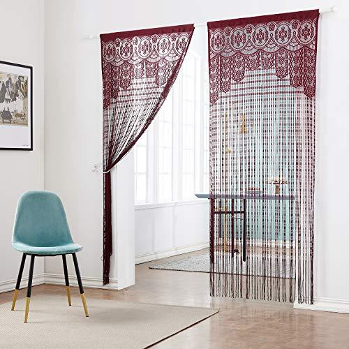 Taiyuhomes - Cortina de tiras para puerta, perfectas para separar espacios, elegantes y cálidas, se pueden colocar en puertas y ventanas, poliéster, rojo vino, 90x200cm