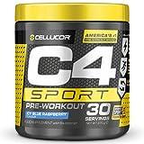 C4 Sport - Suplemento en polvo para preentrenamiento - Frambuesa azul | Bebida energética para antes de entrenar | 135mg de cafeína + beta alanina + creatina | 30 raciones