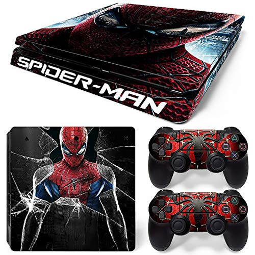 YISHO Spider Skin Sticker Vinyl Decals for PS4 Slim Console + 2 PCS Controller Cover Skin Stickers (TN-P4S-1442)