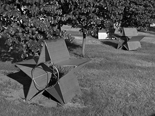 18 x 24 Black & White Canvas Wrapped Print of Star Field Stainless Steel Benches at The Federal Building Oklahoma City Oklahoma y55 2009 Highsmith