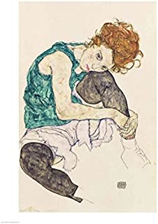 Posterazzi Seated Woman with Bent Knee 1917 Poster Print by Egon Schiele (18 x 24)
