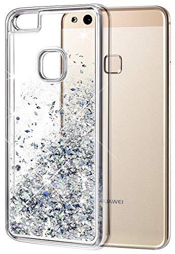 wlooo Huawei P10 Lite Hülle, Glitzer Hülle Mode 3D Bling Schutzhülle Fließend Flüssigkeit Funkeln Glitter Quicksand Cute Case Cover Protective TPU Bumper Handyhülle (Silber)