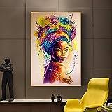 Acuarela retrato de mujer africana pintura al óleo sobre lienzo cartel de arte de pared moderno e impresiones imágenes gráficas decoración de habitación 70x100cm sin marco
