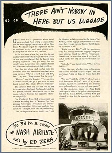 Comical ED ZERN Story in 1951 NASH AIRFLYTE Cars AD Original Paper Ephemera Authentic Vintage Print Magazine Ad/Article