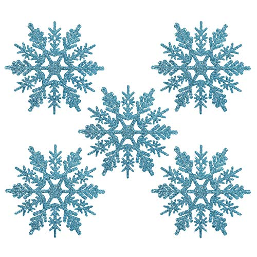Naler 24 x Schneeflocken Weihnachten Deko für Weihnachtsbaum Glitzer Weihnachtsbaumschmuck, Türkis