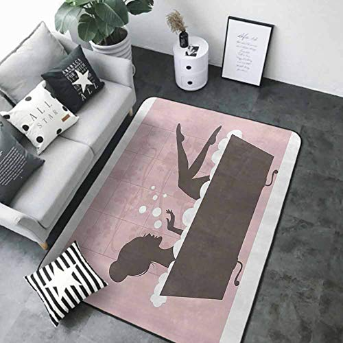 "Front Mat Home Decorative Carpet Colorful Teens Girls Women Decor Collection,Beautiful Woman in Bath Tub Spa Relaxation Treatment Concept Vintage Style,Powder Pink Dark Taupe 60""x 96"" Best Floor mats"