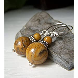 Crazy Lace Agate Round Beaded Earrings - Sterling Silver