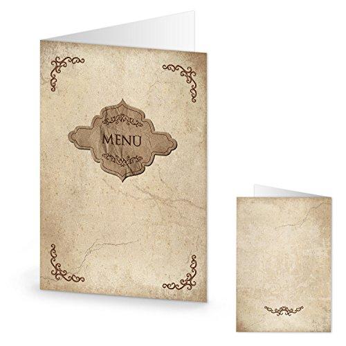 20 menù in stile nostalgico vintage effetto carta Kraft marmorizzata, scrivibili e stampabili, formato DIN A4, piegati in formato A5, decorazioni da tavolo per matrimonio e compleanno