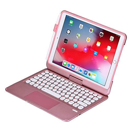 iPad Keyboard Case for 10.2 2019, iPad Air 10.5 2019, iPad Pro 10.5 2017 - Backlit - 360 Rotatable - Wireless - iPad 7th Generation with Clickable Touchpad - iPad Air 3rd Gen - Tablet Case (Rose Gold)