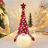 Aneralied Navidad Gnome Decoraciones, 40,6 cm hecho a mano Gnome Tomte Sueco con luz LED, muñeca de peluche de elfo de Navidad para decoración de mesa, decoración del hogar, adornos para el hogar...