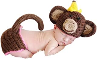 Newborn Monthly Baby Photo Props Outfits Crochet Knitted Costume Set for Boy Girls Photography Shoot