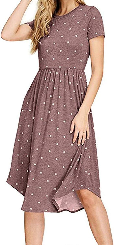 Anatoky Womens Polka Dot Short Sleeve Pockets Casual Swing Midi Dress