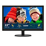 Philips 223V5LHSB Monitor 22' LED, Full HD, 1920 x 1080, 5ms, 250 cd/m2, HDMI, VGA, Attacco VESA, Nero