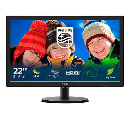 "Philips Monitor 223V5LHSB Monitor 22"" LED, Full HD, 1920 x 1080, 5 ms, 250 cd/m², HDMI, VGA, Attacco VESA, Nero"
