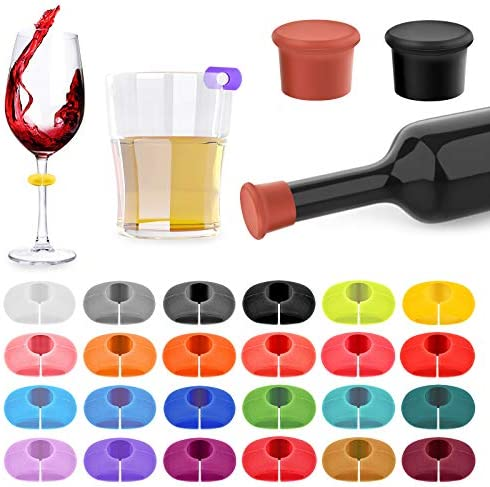 26Pcs Wine Glass Charms Tags with Bottle Stopper Silicone Wine Glass Drink Markers for Bar Party product image