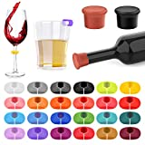 26Pcs Wine Glass Charms Tags with Bottle Stopper, Silicone Wine Glass Drink Markers for Bar Party Martinis Cocktail Champagne Stem Glasses