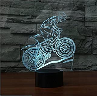3D Mountain Bike Night Light 7 Color Change LED Table Desk Lamp Acrylic Flat ABS Base USB Charger Home Decoration Toy Brithday Xmas Kid Children Gift