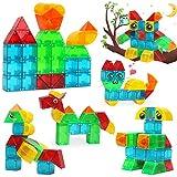 LUKAT Magnetic Blocks for Kids, 3D-Cuboid Magnetic Tiles Building Blocks for Kids to Learn Shapes, Colors, Animals, Alphabet... STEM Magnetic Toys, Best Gift for Kids Age 3+