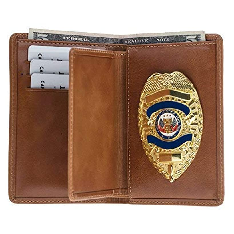 Police Badge Wallet, All Leather, Fits Any Shape Badge with Pin Back -Tobacco Brown