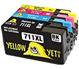 Yellow Yeti Reemplazo para HP 711 711XL Cartuchos de Tinta compatibles con HP DesignJet T120 T520 (1 Negro + 1 Cian + 1 Magenta + 1 Amarillo)