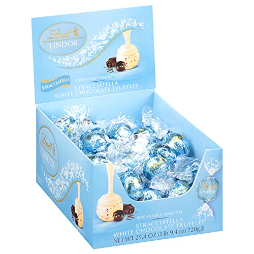 Lindt LINDOR Stracciatella White Chocolate Truffles, Chocolates with Smooth, Melting Truffle Center, 25.4 oz., 60 Count
