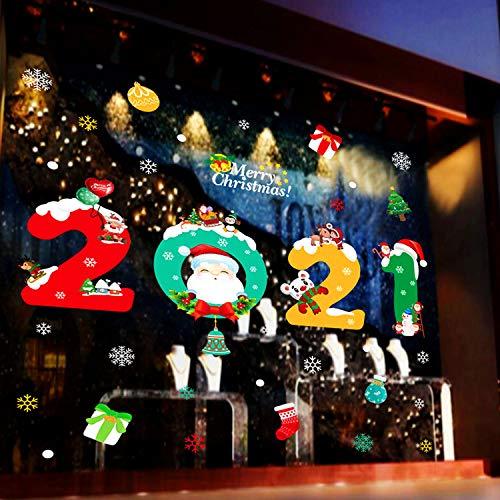 WELLXUNK® Pegatinas Ventanas Navidad, Decoracion Navidad Pegatinas, Pegatina Calcomanía de Ventana, Pegatinas...