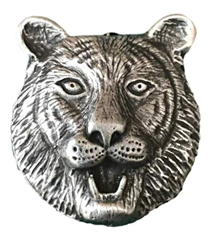 Emblems-Gifts Tiger Head Brooch Handcrafted From English Pewter (BR1336) + 59mm Button Badge