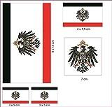 U24 Aufkleberbogen Kaiserreich mit Adler Aufkleber Set Flagge Fahne