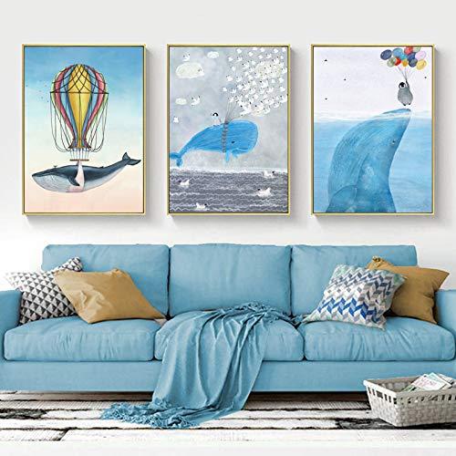 NFXOC Arte de Pared Pez de Dibujos Animados Lindo Decoración para el hogar Lienzo nórdico Pintura de Arte Impresión Tiburón Ballena Pintura de delfín Dormitorio -23.6'x 31.4' (60x80cm) x3 Sin Marco