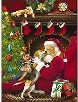 5Dダイヤモンドペインティングキッ,ペットの犬のサンタSのキス,DIYフルダイヤモンドクリスタルクロスステッチ刺繡クラフトアートキャンバス壁装飾40x50cm