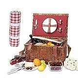 Cesta de Picnic Willow para 2 Personas, con Platos, Copas de Vino, Cubiertos y Sacacorchos, Bolsa de Almacenamiento de Cubiertos, Lugar Fijo de Vino, Paquete de Hielo Fijo