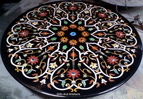Gifts and Artefakte Runde Form schwarz Marmor Konferenztisch Tischplatte Terrasse Couchtisch Pietra Dura Art geometrisches Muster Assent Home Möbel...