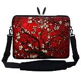 Meffort Inc 15 15.6 inch Neoprene Laptop Sleeve Bag Carrying Case with Hidden Handle and Adjustable Shoulder Strap - Vincent Van Gogh Cherry Blossoming