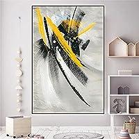 抽象的な黄色い羽のキャンバスの絵画落書きアートポスターとプリント現代の壁の写真リビングルームの家の装飾70x100cmフレームレス