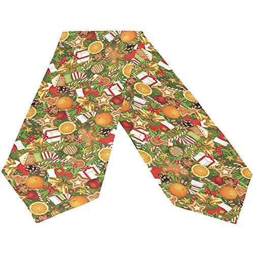sunnee-shop Frohe Kerst-peperkoeken-man-lange tafelloper, winter-rode bell-rechthoekige tafelkleed-loper
