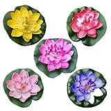 CLISPEED 5 Stück Künstliche Lotusblume Schwimmende Teichdekoration Seerose Blume Ornament für Gartenterrasse Pool Aquarium Dekoration
