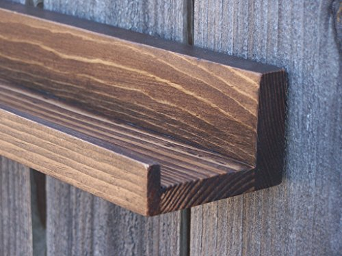 "Narrow Floating ledge Shelf, Picture ledge Shelf, Spice Rack, You Choose length. 12"", 14"", 16"", or 18 Inch. Dark Walnut Finish"