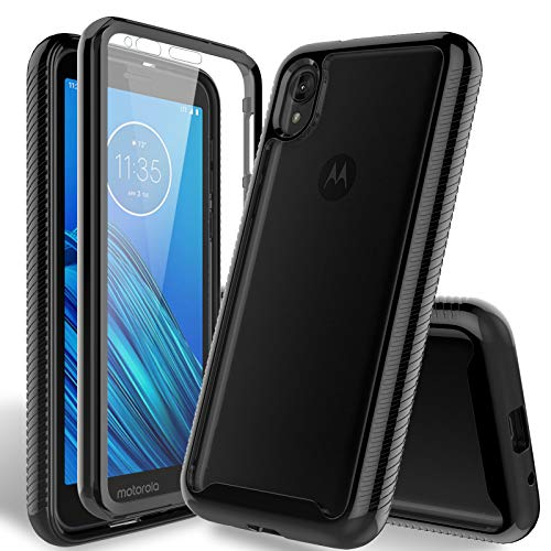 HATOSHI Moto E6 Case with Built-in Screen Protector, [Heavy Duty Protection][Crystal Clear] Armor Shockproof Rubber Bumper Protective Phone Case Cover...