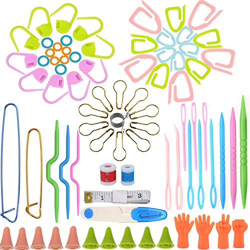 Looen Gift Pack-80 PCS in One Basic Sewing Knitting Accessories Crochet Notions Tools,Crochet Kit Supplies with Scissors Stitch Markers Point Protectors Stitch Holders Sewing Needle Pin Yarn Guide