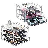 mDesign - Caja organizadora de bijouterie; guarda anillos, aros, pulseras, collares, anteojos, gafas de sol - 3 cajones delgados - Claro/negro - Paquete de 2