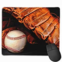 野球 黒 ボール マウスパッド 運びやすい オフィス 家 最適 おしゃれ 耐久性 滑り止めゴム底付き 快適操作性 30*25*0.3cm