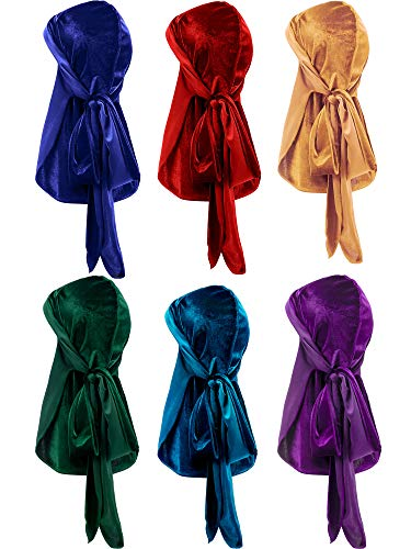 Tatuo 6 Pieces Stretchable Luxury Velvet Durag Cap Straps Headwraps with Long Tail and Wide Straps (Green, Purple, Red, Gold, Blue, Navy Blue)