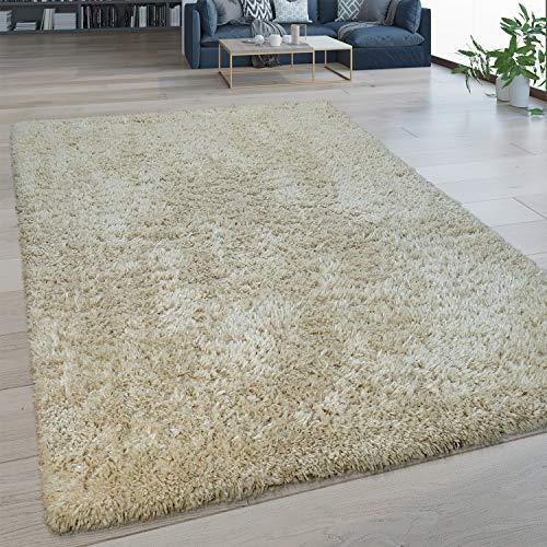 Paco Home Hochflor Wohnzimmer Teppich Waschbar Shaggy Flokati Optik Einfarbig In Beige, Grösse:160x220 cm
